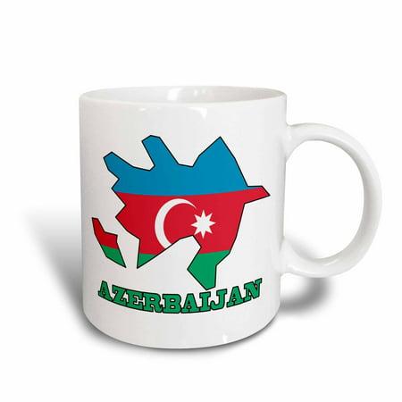 3dRose The flag of Azerbaijan in the outline map of Azerbaijan and the country name Azerbaijan, Ceramic Mug, 11-ounce