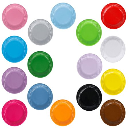 "CUH 20PCS Colorful Disposable Paper Plates Round Trays of 7in"" & 9in"" Perfect for BBQ and Parties"