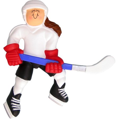 Hockey Player Female Brown Personalized  Christmas Ornament DO-IT-YOURSELF