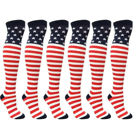 6 Pair American Flag Knee High Socks USA Women Girls Red White Blue Stripes 9-11 - Girls Red And White Striped Tights