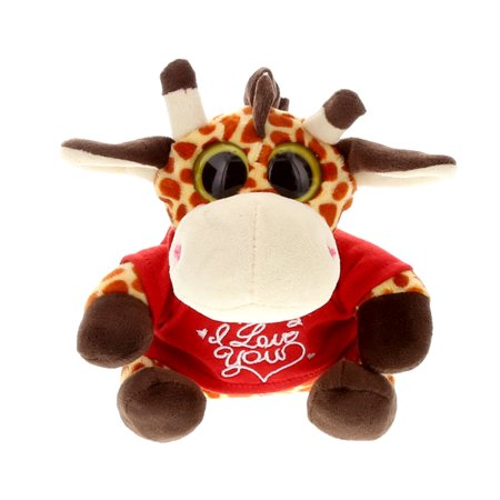 Super Soft Plush Dollibu Giraffe Big Eye Red I Love You Shirt Valentines Plush ()