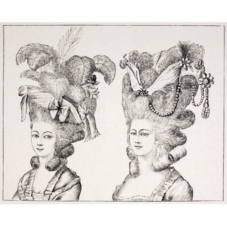 18Th Century French Girls Wearing Extravagant Hair Styles And Hats From Xviii Siecle Institutions Usages Et Costumes Published Paris 1875 Stretched Canvas - Ken Welsh  Design Pics (16 x - Paris Hat