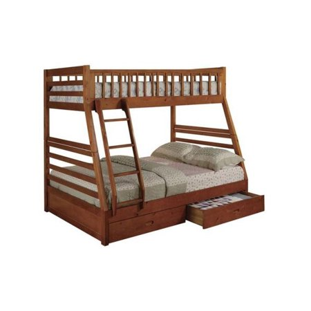 Boise Oak Twin Over Full Bunk Bed With Storage Walmart Com
