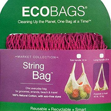 ECO-BAGS PRODUCTS - String Bag Tote Handle Natural Cotton Cranberry 1 BAG