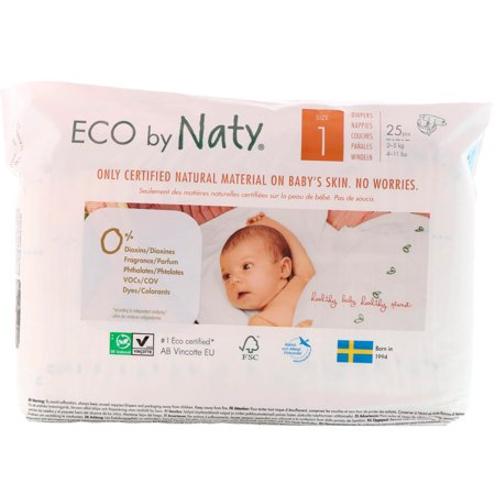 Naty  Diapers for Sensitive Skin  Size 1  4-11 lbs  2-5 kg   25