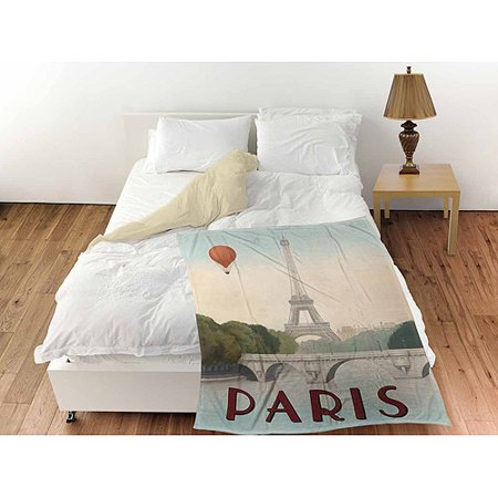 Thumbprintz City Skyline Paris Coral Fleece Throw  30  X 40