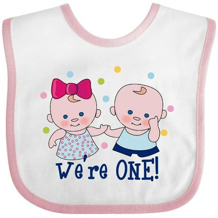 Inktastic We're One Twin Boy & Girl Baby Bib And 1st Birthday Polka Dot First