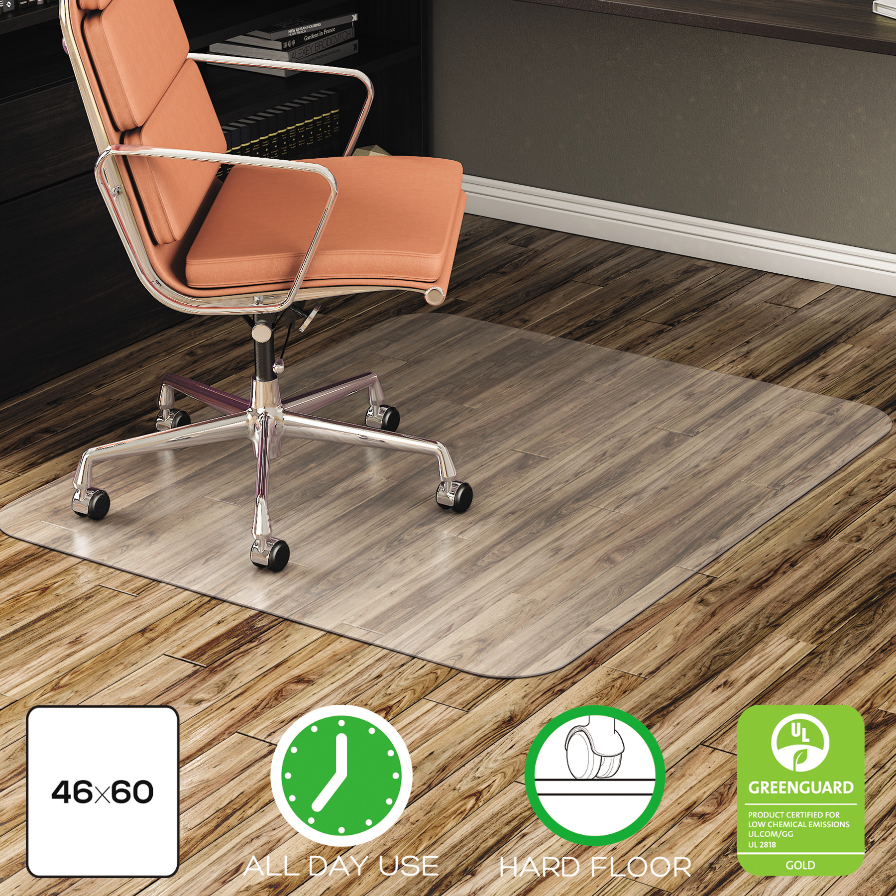 Deflecto EconoMat 46 x 60 Chair Mat for Hard Floor, Rectangular