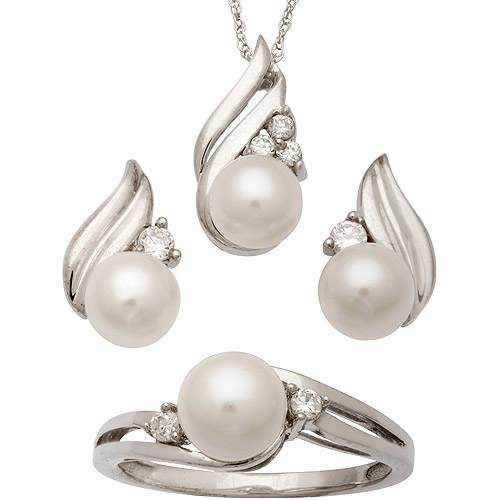 6.4mm Cultured White Pearl and CZ Sterling Silver Pendant, Earrings and Ring Set