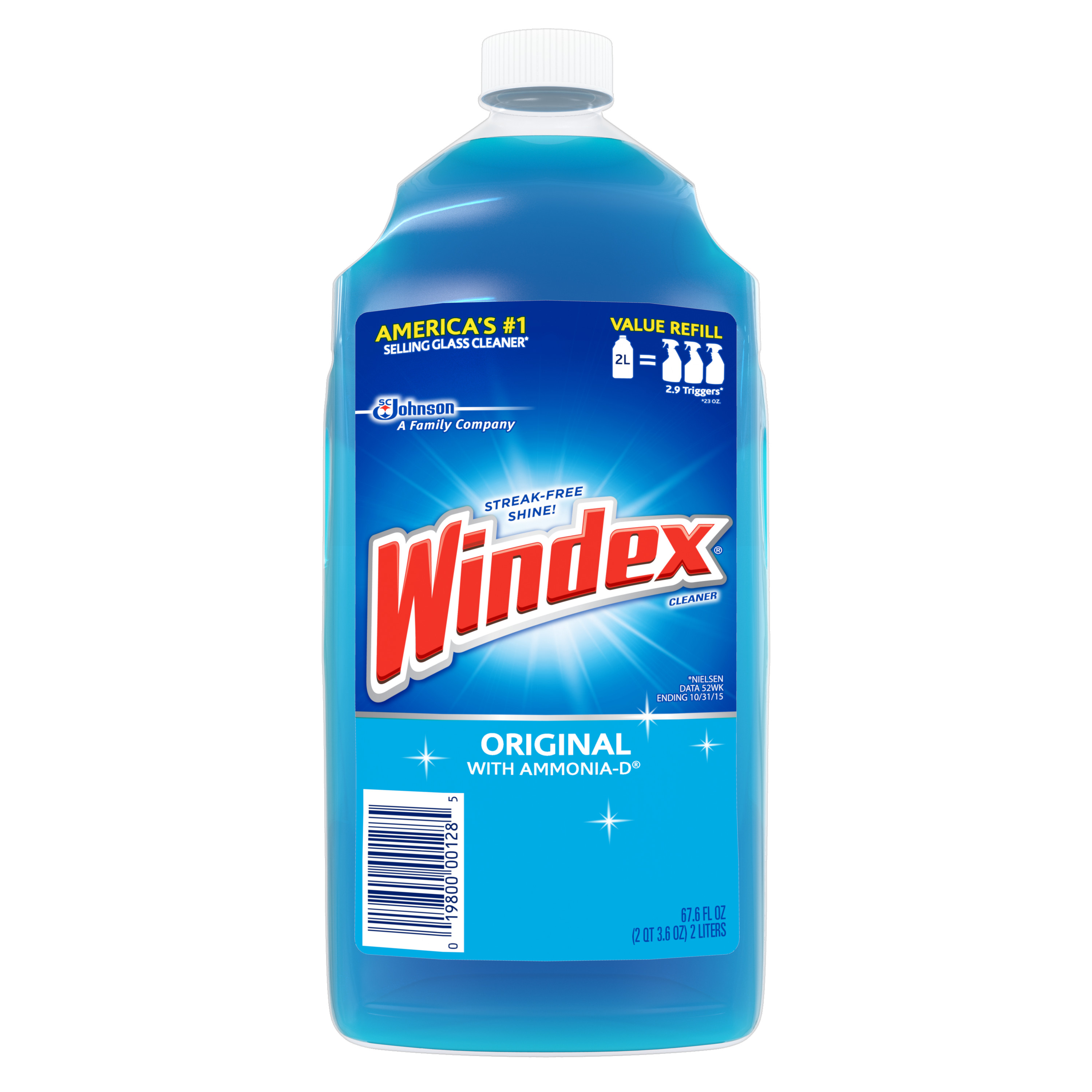 Windex Original Glass Cleaner Refill 67.6 Ounces (2 Liter)