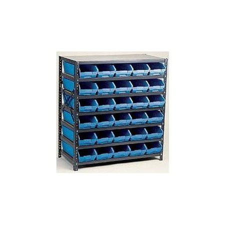 Bin Shelving, Solid, 36X12, 18 Bins, Blue QUANTUM STORAGE SYSTEMS 1239-109BL