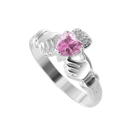 Gem Avenue Sterling Silver Claddagh Pink Cubic Zirconia Heart Ring ()