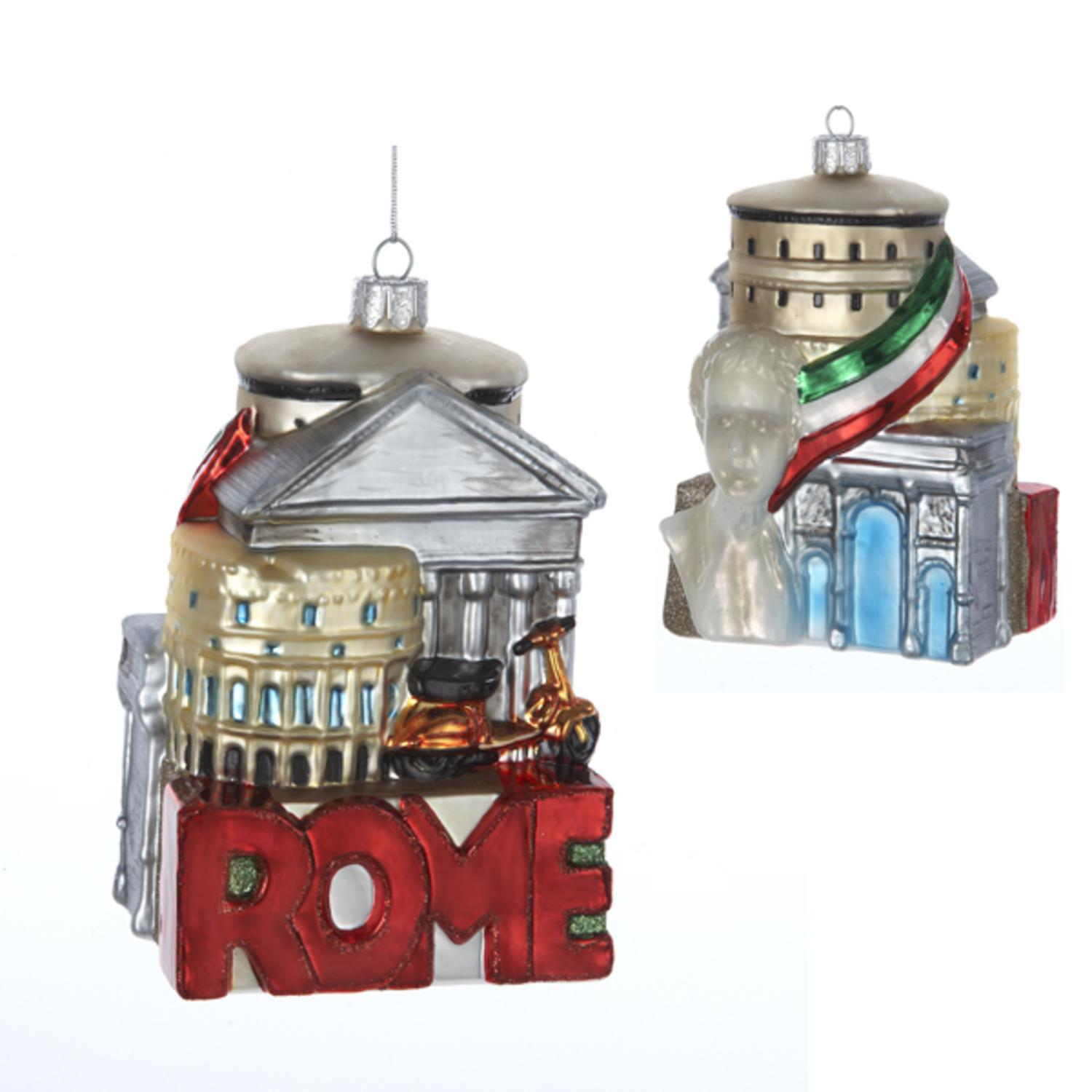 Pack of 6 Rome Cityscape Glass Christmas Ornaments 5""