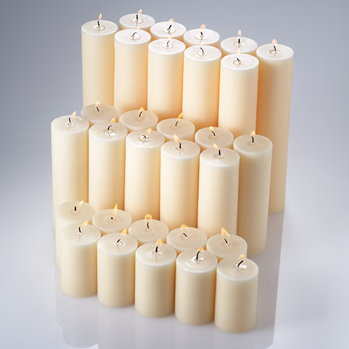 "Richland Pillar Candles White 2""x3"", 2""x6"", 2""x9"" Set of 30"