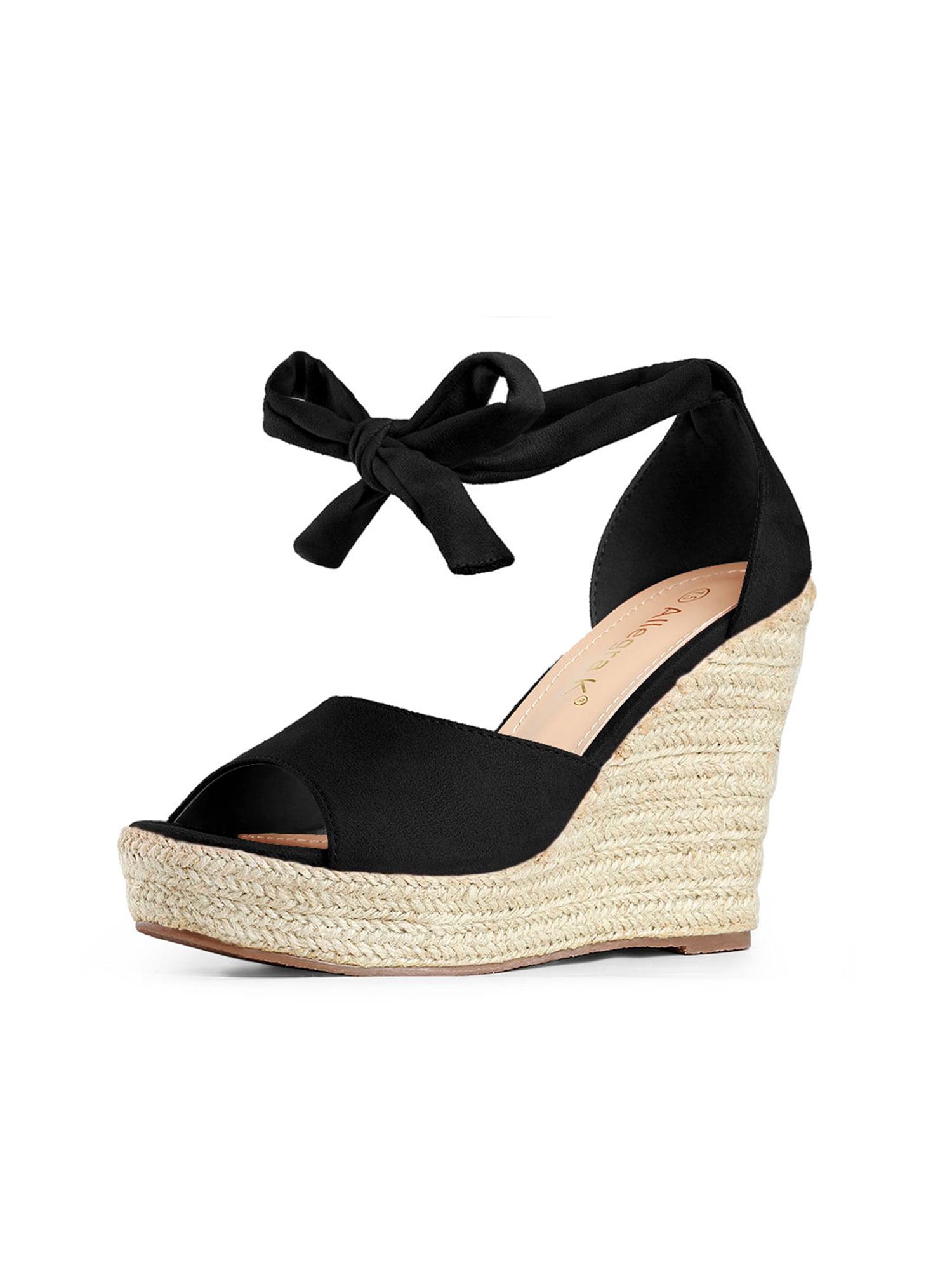 Women's Espadrilles Tie Up Ankle Strap Wedge Black Sandals - 9 M US
