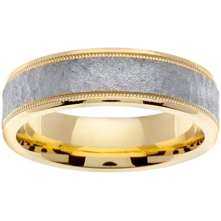 Two Tone Platinun and 18K Yellow Gold Center Runway Modern Comfort Fit Men's Wedding Band (6mm)