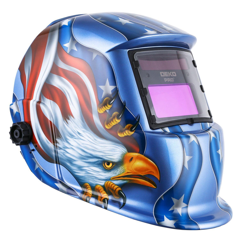 Click here to buy Solar Powered Welding Helmet Auto Darkening Hood with Adjustable Shade Range 4 9-13 for Mig Tig Arc Welder Mask Blue....