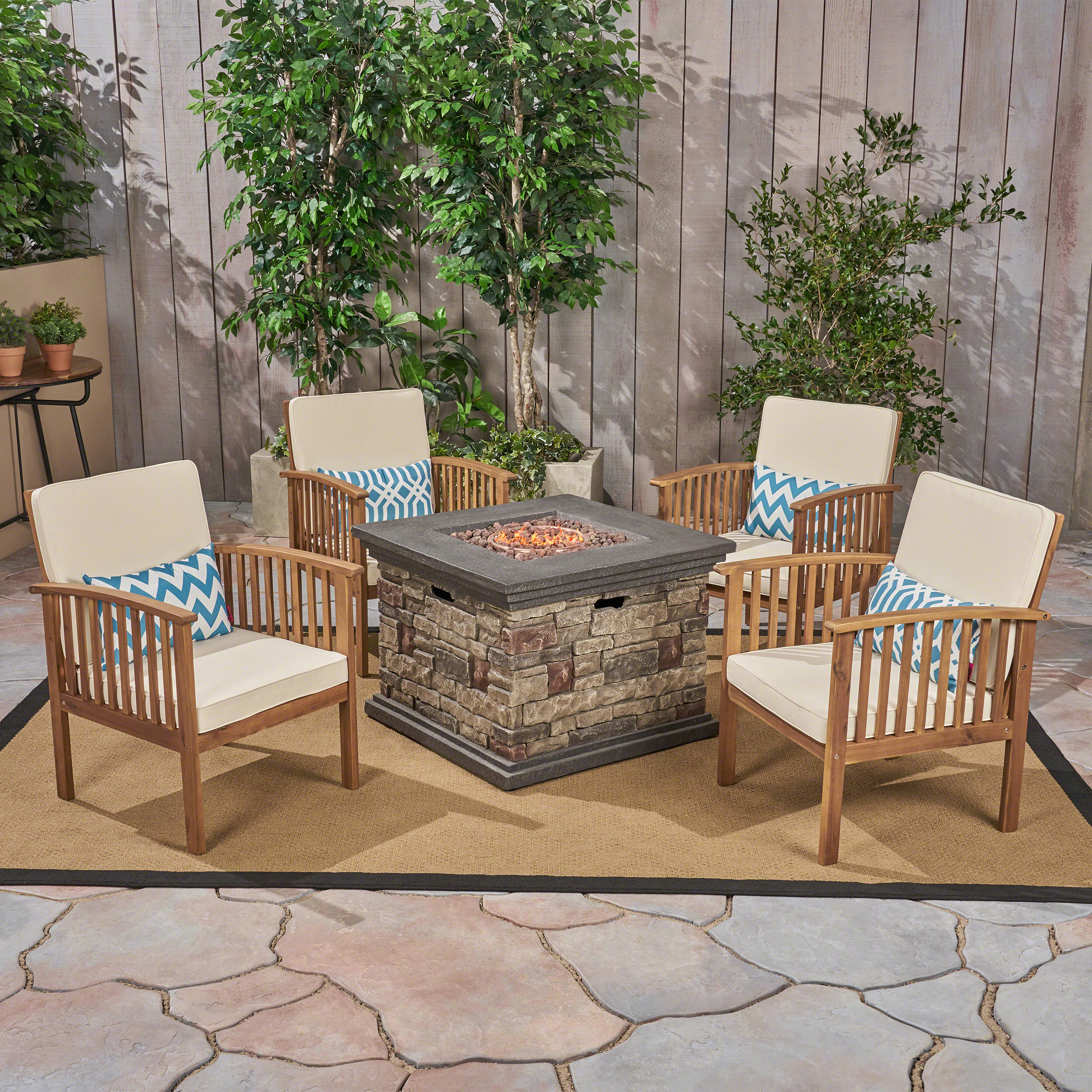 Tucson Outdoor 5 Piece Acacia Wood Chat Set with Cushions and Stone Finished Fire Pit, Brown Patina, Cream, Stone, Brown