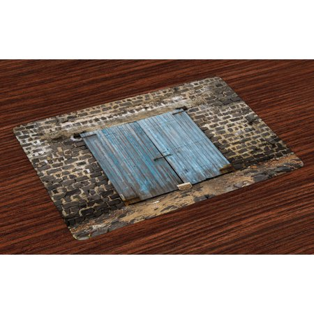 Rustic Placemats Set of 4 Stone Wall of Dated Closed Barn Gothic Medieval European Urban City Town Scenery, Washable Fabric Place Mats for Dining Room Kitchen Table Decor,Blue Grey, by (Best Walled Cities In Europe)