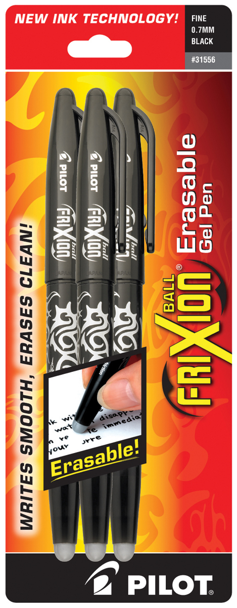 Pilot FriXion Ball Erasable Gel Pens 3/Pkg-Blk