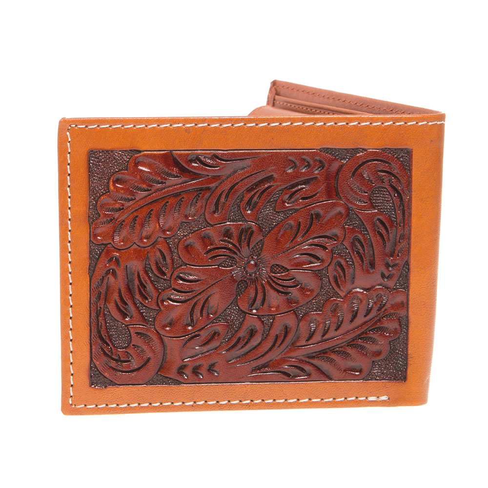bf4385967a6d0 3D Belt DW161 Tan Floral Hand Tooled Leather Bi-fold Wallet - 3.50 x 4.25  in.