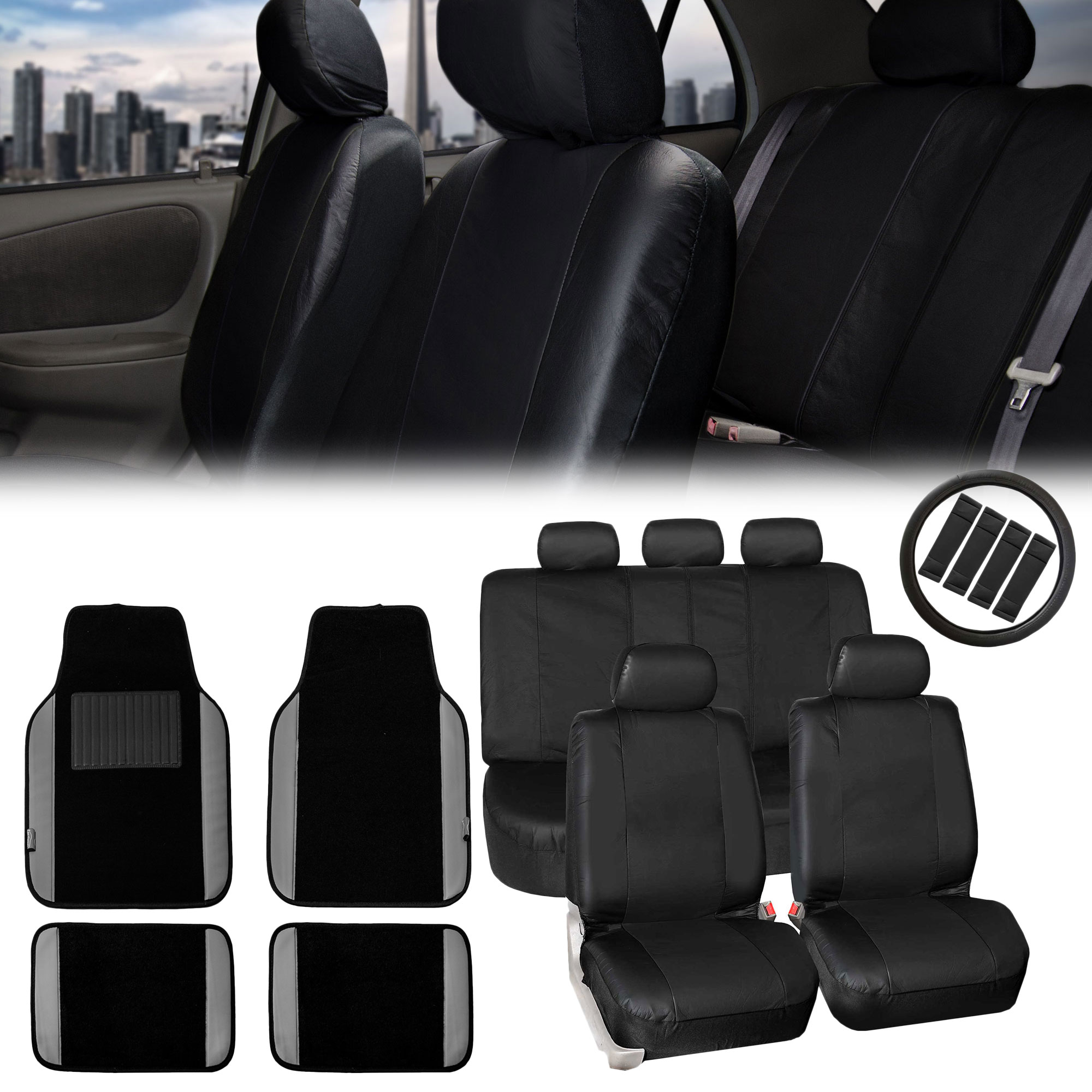 FH Group, Car SUV Seat Covers PU Leather Black Combo Gray