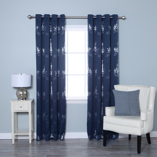 Best Home Fashion, Inc. Chandelier Print Graphic Print & Text Blackout Thermal Grommet Curtain Panels (Set of 2)