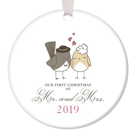 """Love Birds Ornament 2019, Mr & Mrs Ornament, Wedding Gift Porcelain Ornament, 1st Married Christmas, 3"""" Flat Circle Christmas Ornament with Glossy Glaze, White Ribbon & Free Gift Box 