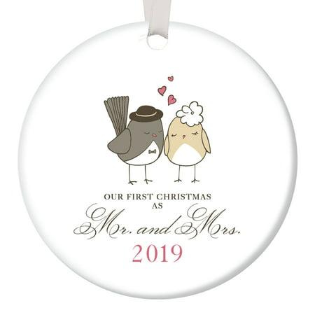 Love Birds Ornament 2018, Mr & Mrs Ornament, Wedding Gift Porcelain Ornament, 1st Married Christmas, 3