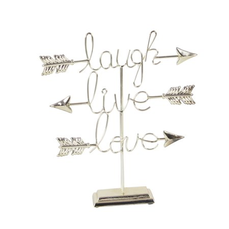 Decmode Glam 16 X 15 Inch Iron Live Love Laugh Sculpture, Silver ()