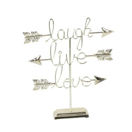 Decmode Glam 16 X 15 Inch Iron Live Love Laugh Sculpture, Silver - First Love Sculpture