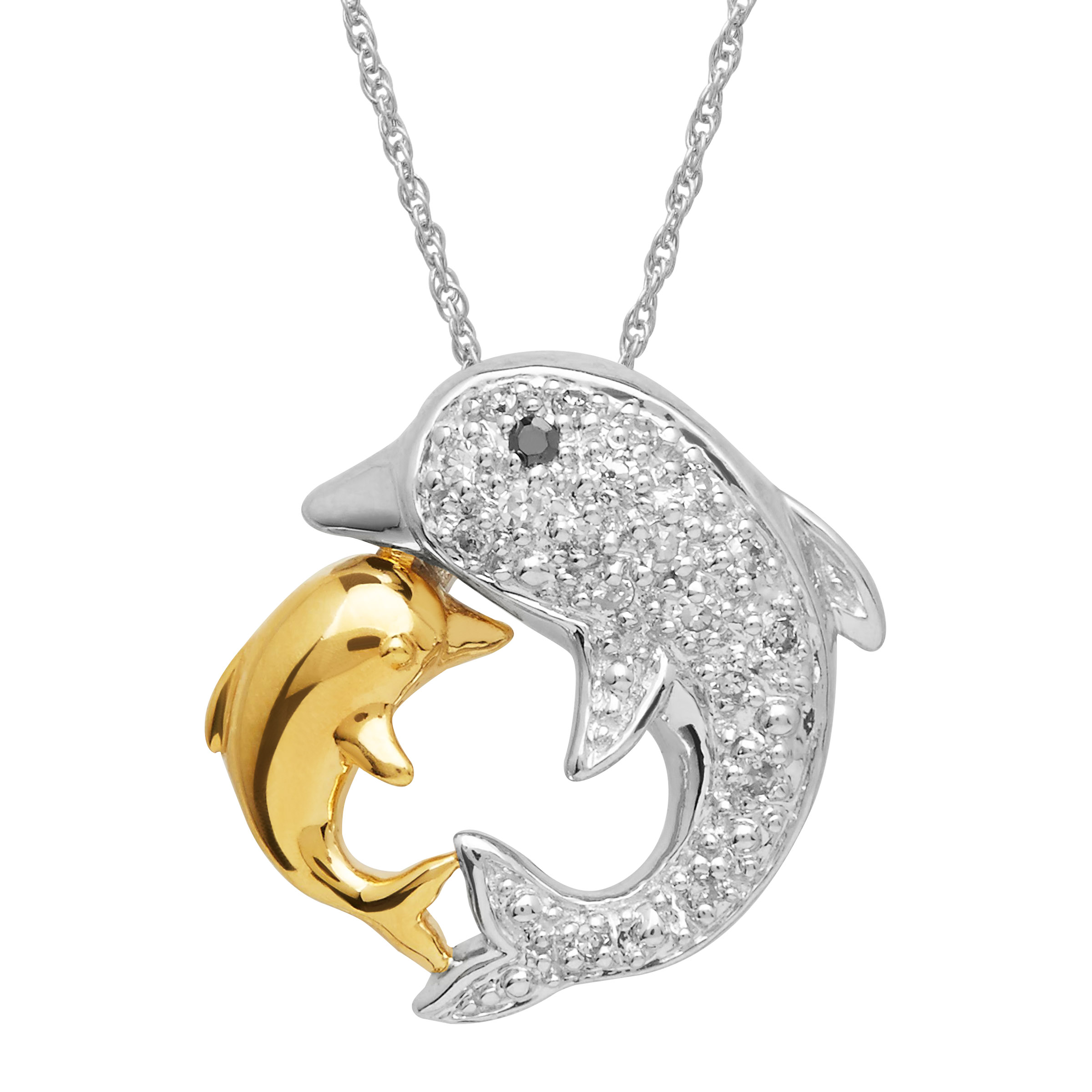 dolphin sterling jewelry pendant gold w necklace nautical