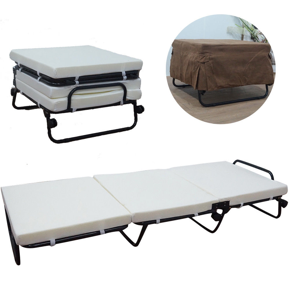 Zimtown Folding Convertible Sofa Bed Ottoman Couch Mattress Lounge Bed Sleeper Casters White