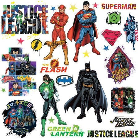 DC COMICS JUSTICE LEAGUE Peel & Stick Vinyl Wall Decals Superman Batman Kids Room Decor (Superman Decal)