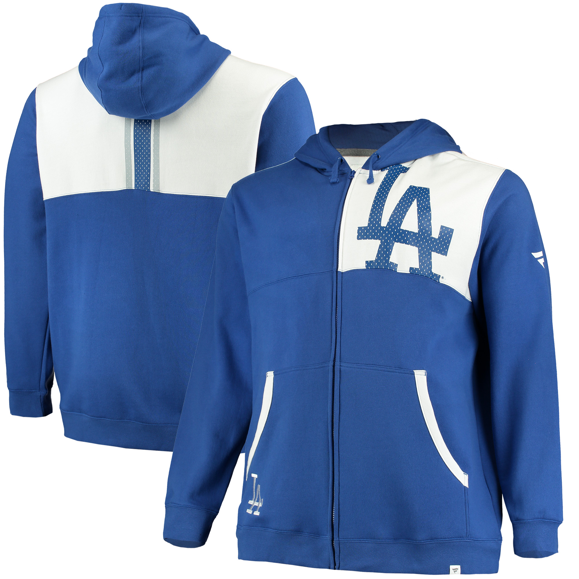 Men's Fanatics Branded Royal/White Los Angeles Dodgers Big & Tall Iconic Bold Full-Zip Hoodie