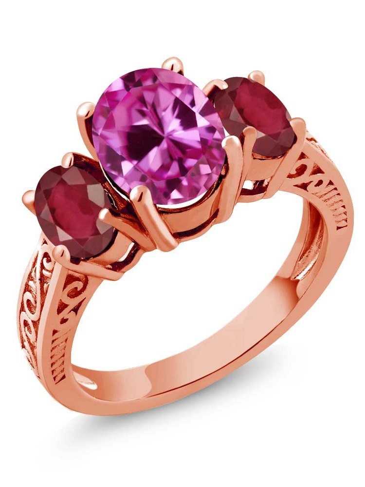 3.70 Ct Oval Pink Created Sapphire African Red Ruby 14K Rose Gold 3-Stone Ring by