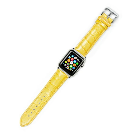 Apple Watch Strap - Crocodile Grain Watch Band - Yellow - Fits 42mm Series 1 & 2 Apple Watch [Silver (Crocodile Wrist Watch Strap Band)
