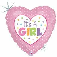 Mayflower 75406 4 in. Baby Girl Dots Flat Foil Balloon