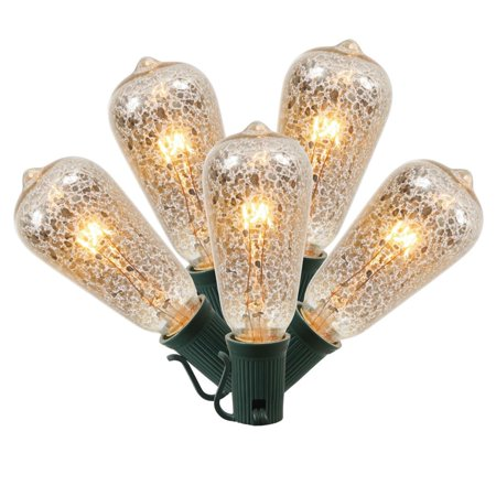 Pack Of 10 Clear Mercury Glass St40 Edison Style Replacement Christmas Lights