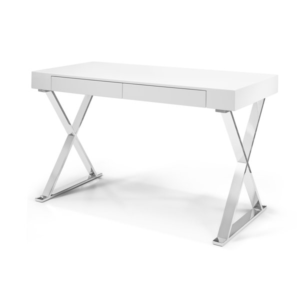 Whiteline Modern Living White Elm Contemporary Stainless Steel