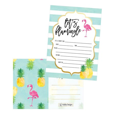 25 Flamingo Party Invitations for Kids, Teens, Adults, Boys & Girls, Blank Children Happy 1st Birthday Invitation Cards, Unique Baby First Bday Invites, Toddler 1 2 3 Year Old rsvp Invites Fill In - Halloween First Birthday Photo Invitations