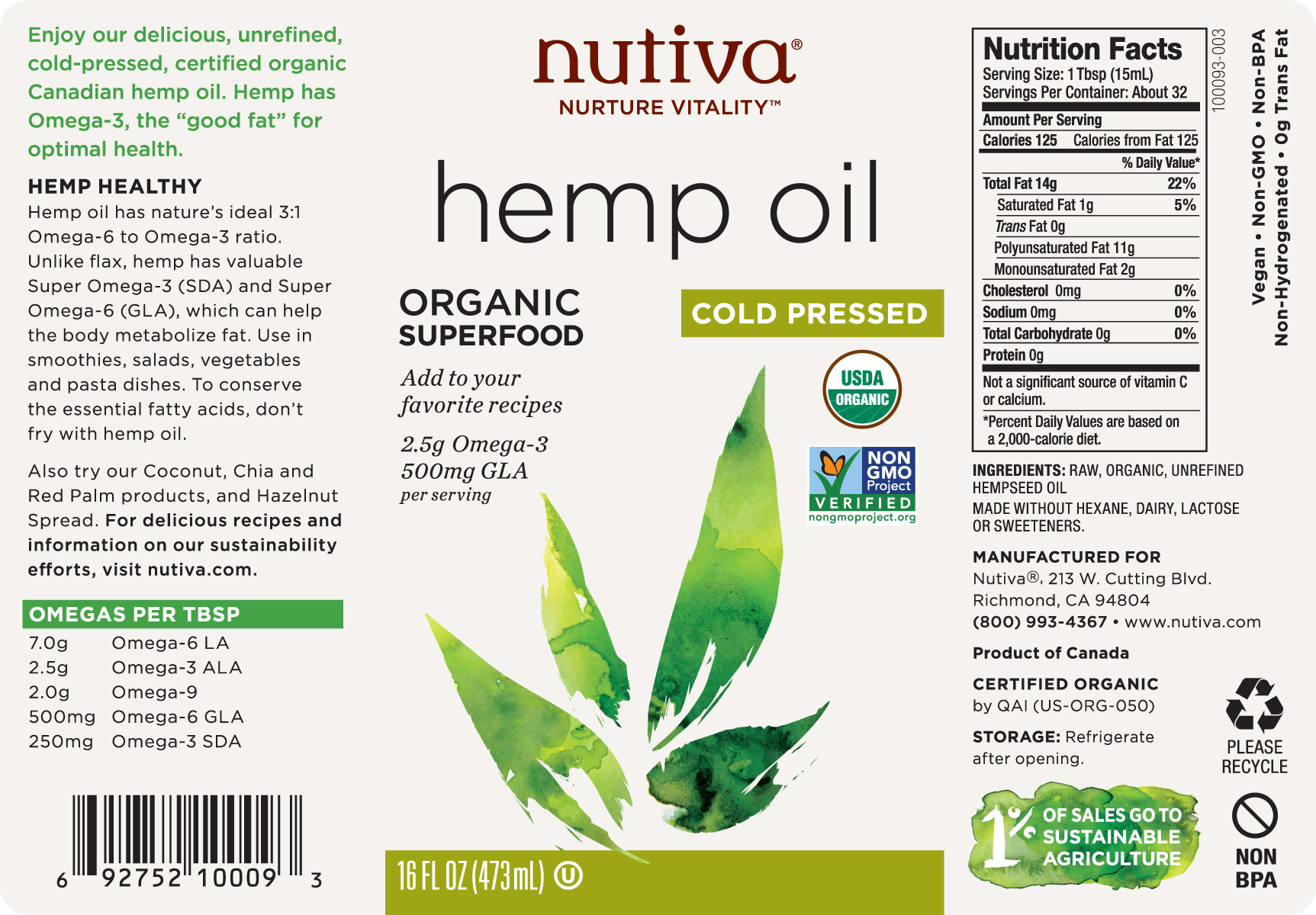 Nutiva Organic Cold-Pressed Unrefined Hemp Seed Oil, 16-Ounce