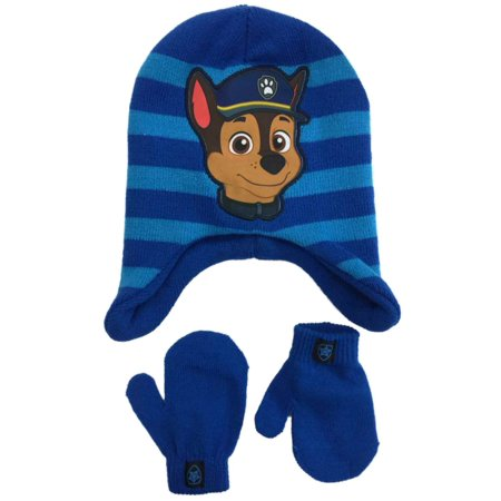fce4209a94b3b Paw Patrol - Toddler Boys Blue Paw Patrol Chase Beanie Hat   Mittens Set  Puppy Dog - Walmart.com