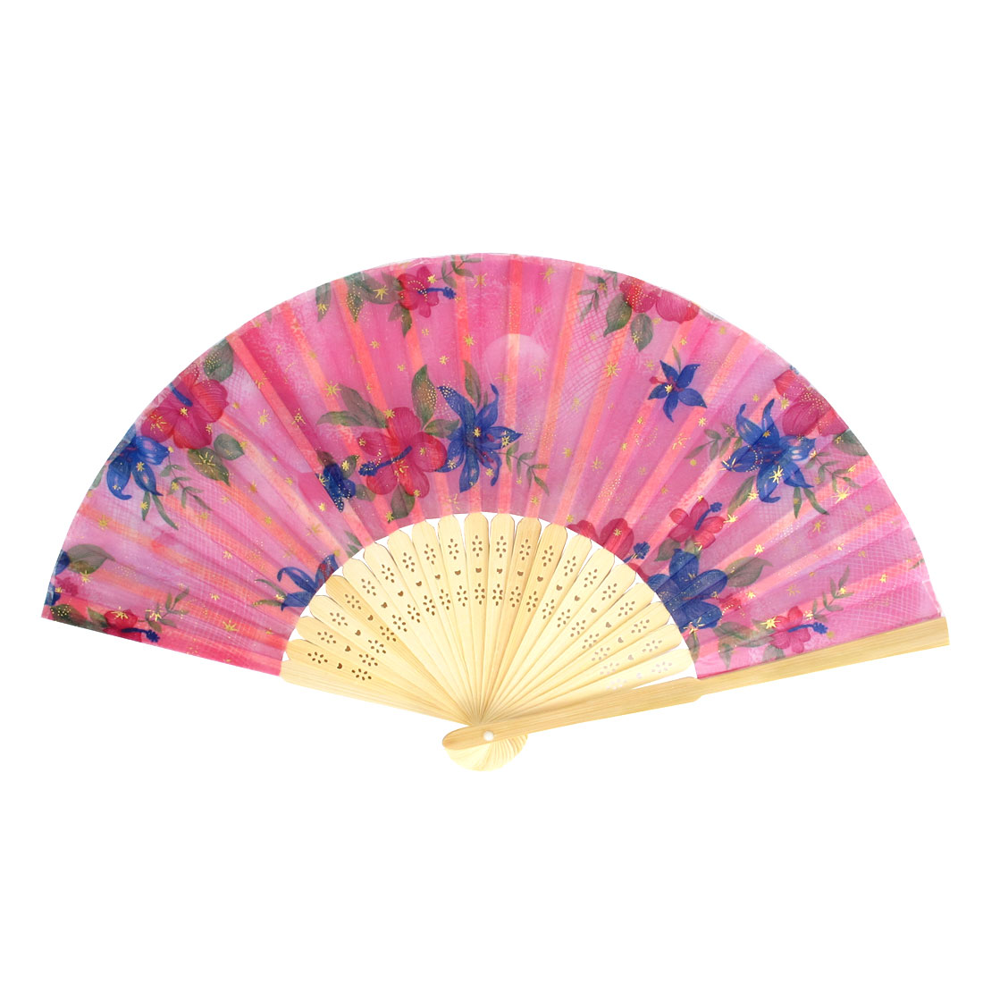 Chinese Style Bamboo Ribs Fabric Flower Print Folding Hand Fan Green ...