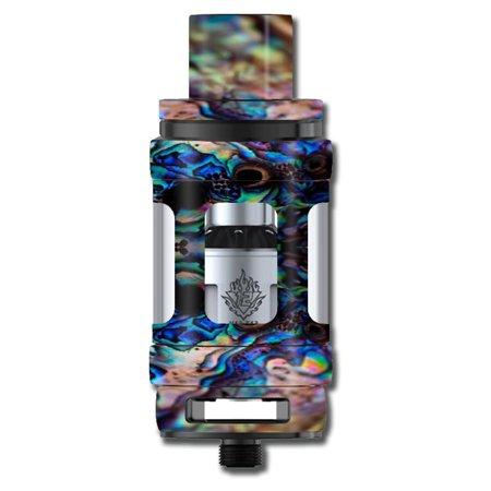 Skin Decal For Smok Tfv12 Cloud King Tank Vape Mod / Abalone Blue Black Shell