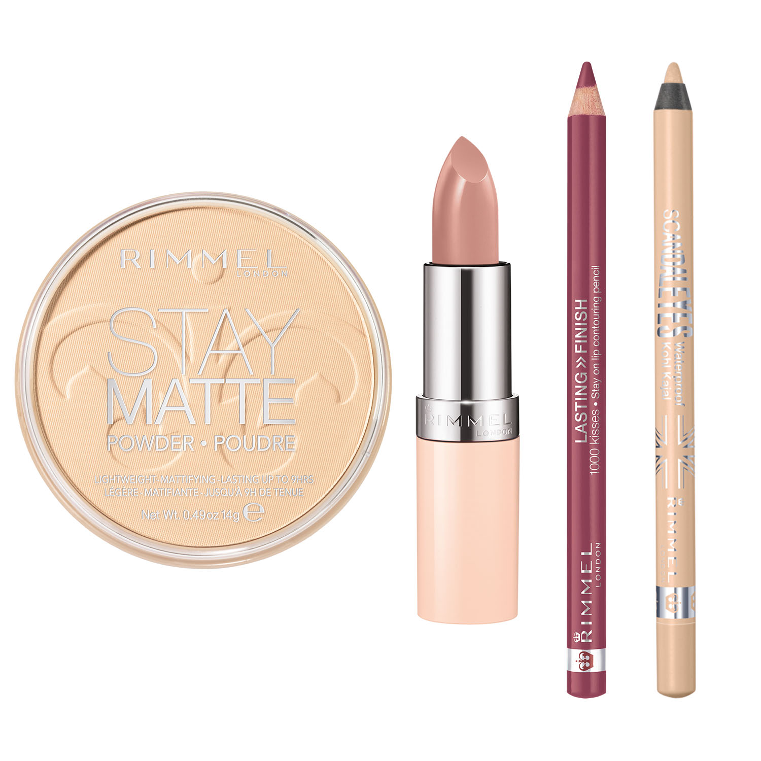 Rimmel Nude Collection Kit with Lasting Finish 1000 Kisses Lip Liner, Lasting Finish By Kate Nude Lipstick, Scandaleyes Waterproof Kohl Kajal Eyeliner and Stay Matte Pressed Powder