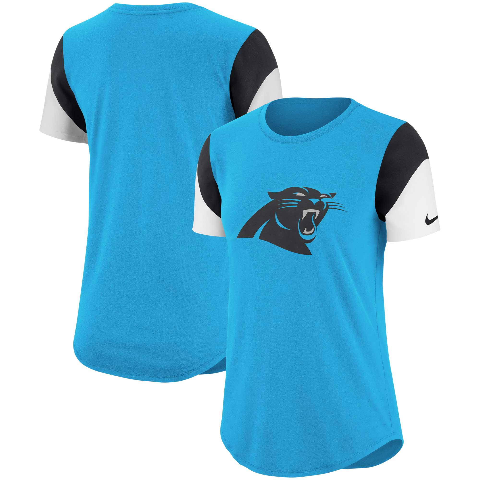 Carolina Panthers Nike Women's Tri-Blend Team Fan T-Shirt - Blue/Black
