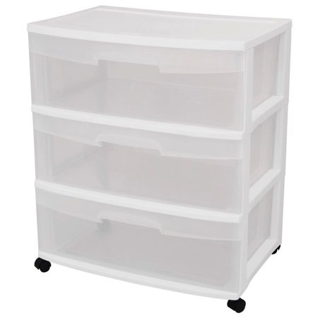 Sterilite 3 Drawer Wide Cart, White - Cheap Store