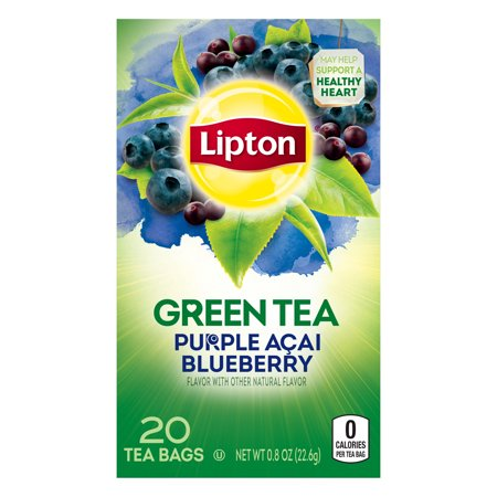 (4 Boxes) Lipton Green Tea Bags Purple Acai Blueberry 20