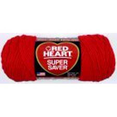 Red Heart Acrylic 4-Ply Dryable Machine Washable Economy Super Saver Yarn, Hot Red, 7 oz Skein 4 Ply Wool Yarn